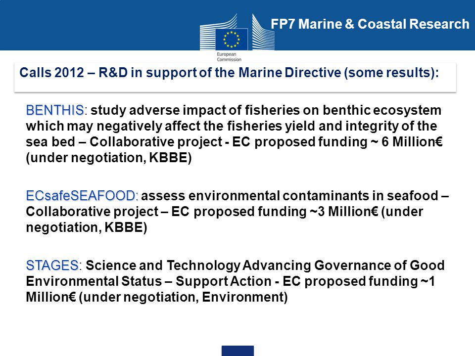 Calls 2012 – R&D in support of the Marine Directive (some results):