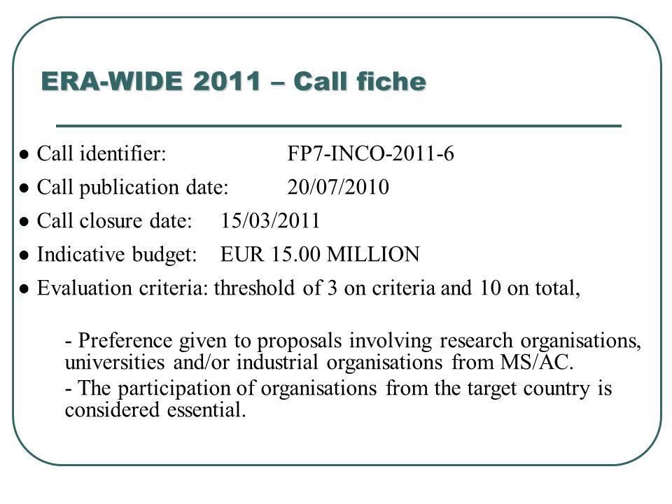 ERA-WIDE 2011 – Call fiche Call identifier: FP7-INCO-2011-6