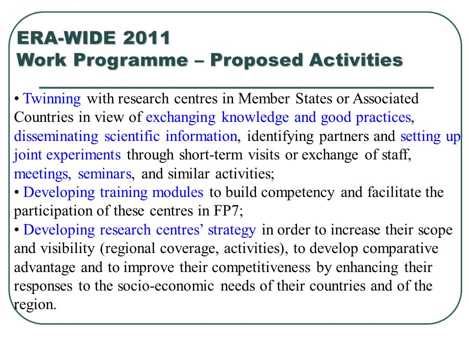 Work Programme – Proposed Activities