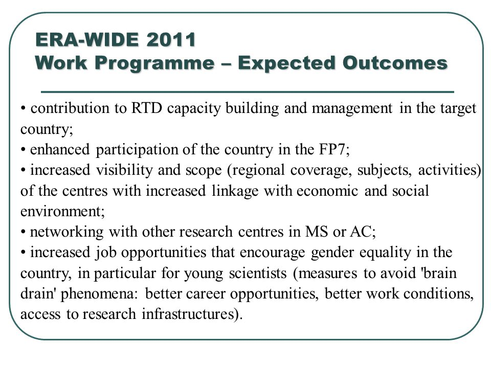 Work Programme – Expected Outcomes