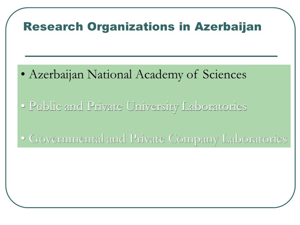 Research Organizations in Azerbaijan