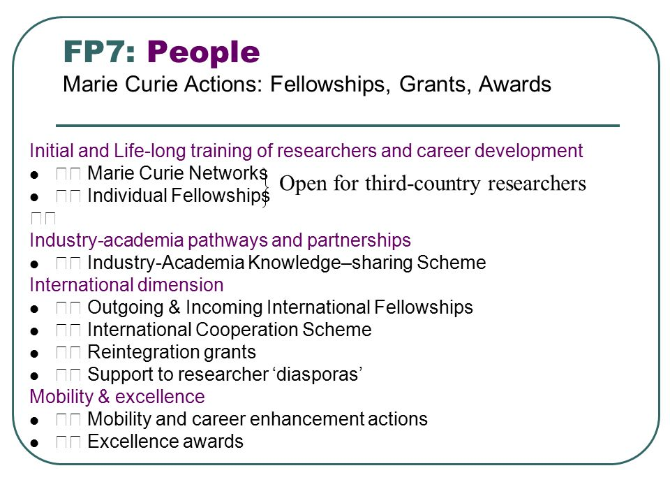 FP7: People Marie Curie Actions: Fellowships, Grants, Awards