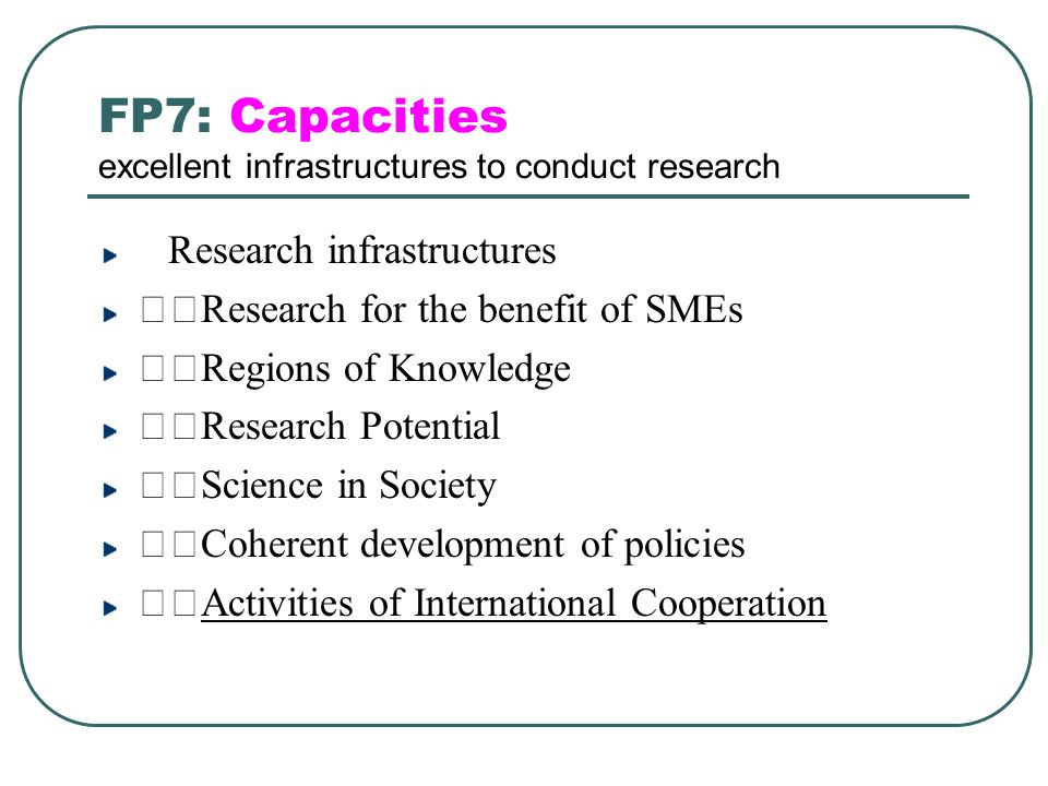 FP7: Capacities excellent infrastructures to conduct research