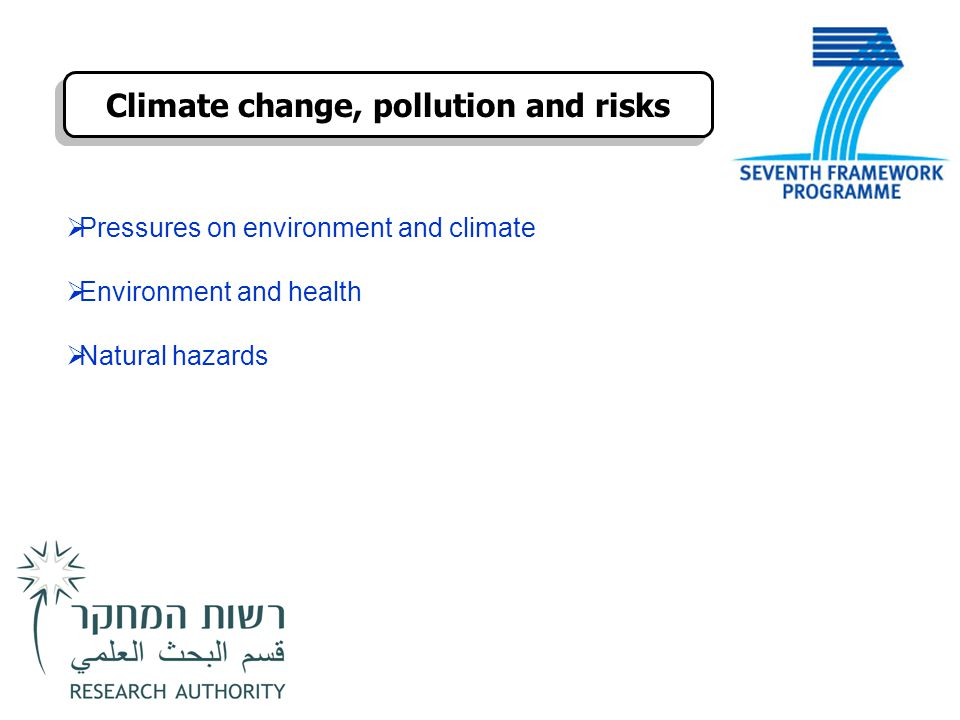 Climate change, pollution and risks