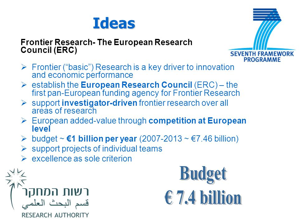 Ideas Frontier Research- The European Research Council (ERC) Frontier ( basic ) Research is a key driver to innovation and economic performance.