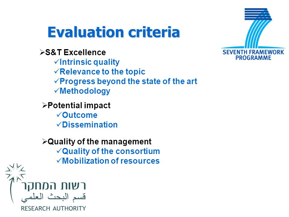 Evaluation criteria S&T Excellence Intrinsic quality
