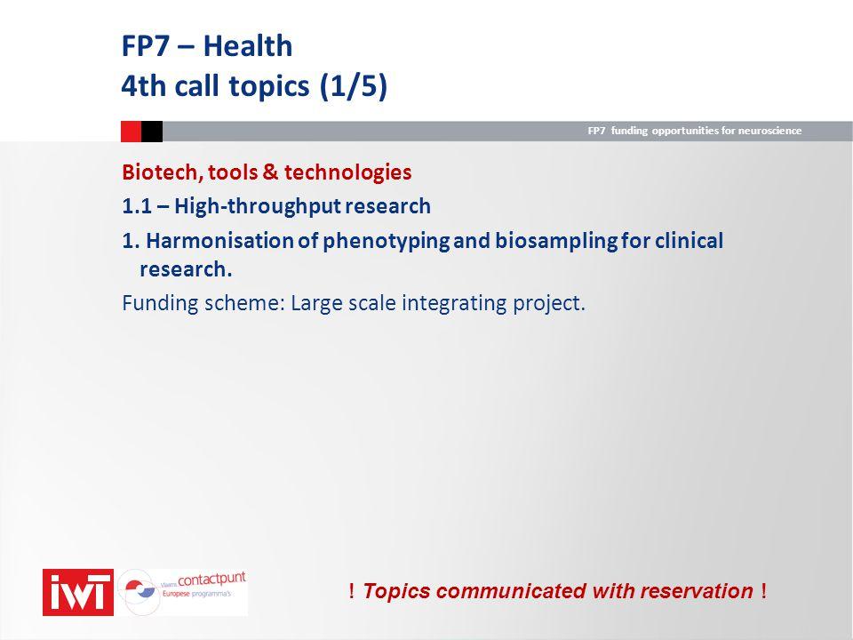 FP7 – Health 4th call topics (1/5)