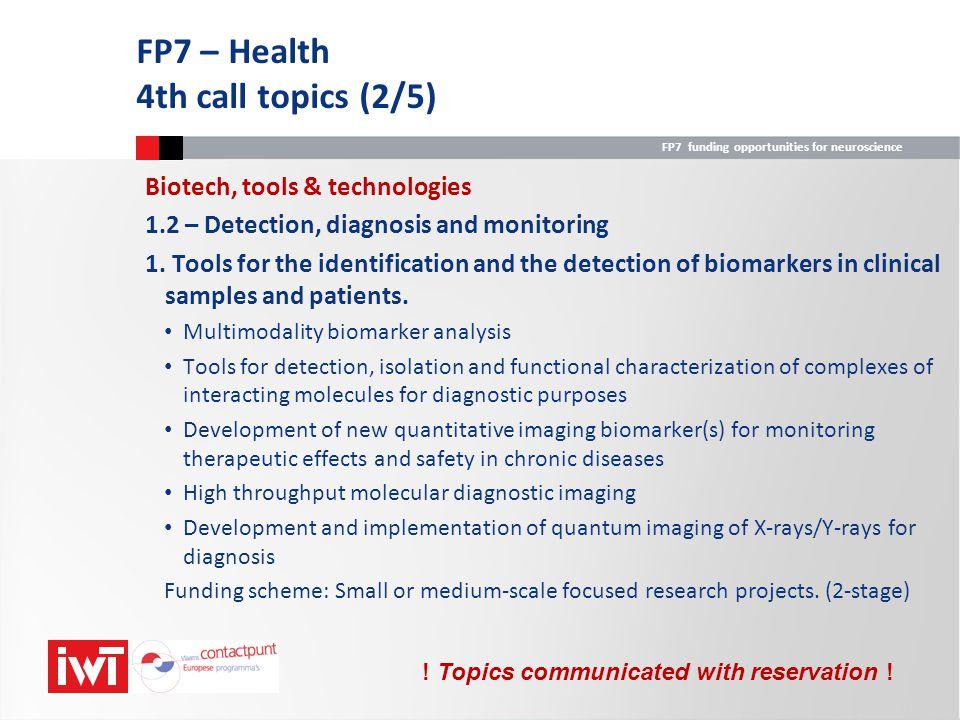 FP7 – Health 4th call topics (2/5)