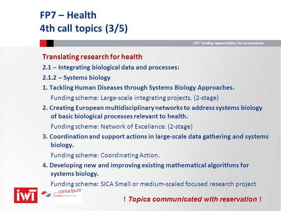 FP7 – Health 4th call topics (3/5)