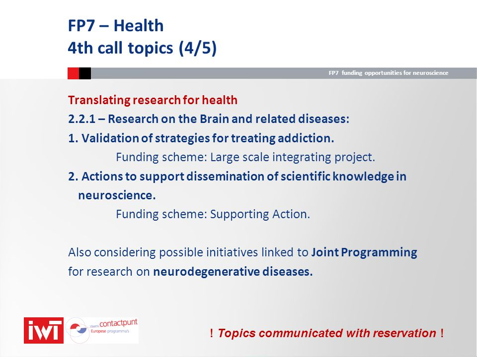 FP7 – Health 4th call topics (4/5)