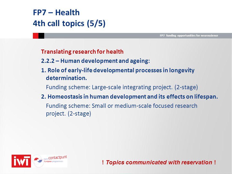 FP7 – Health 4th call topics (5/5)