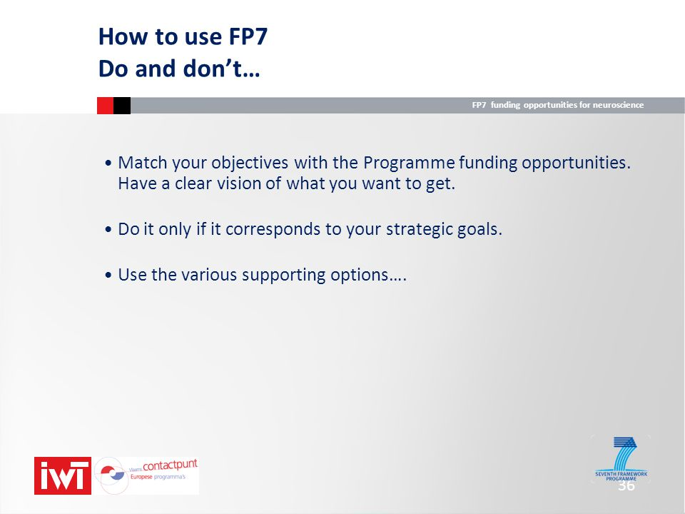 How to use FP7 Do and don't…
