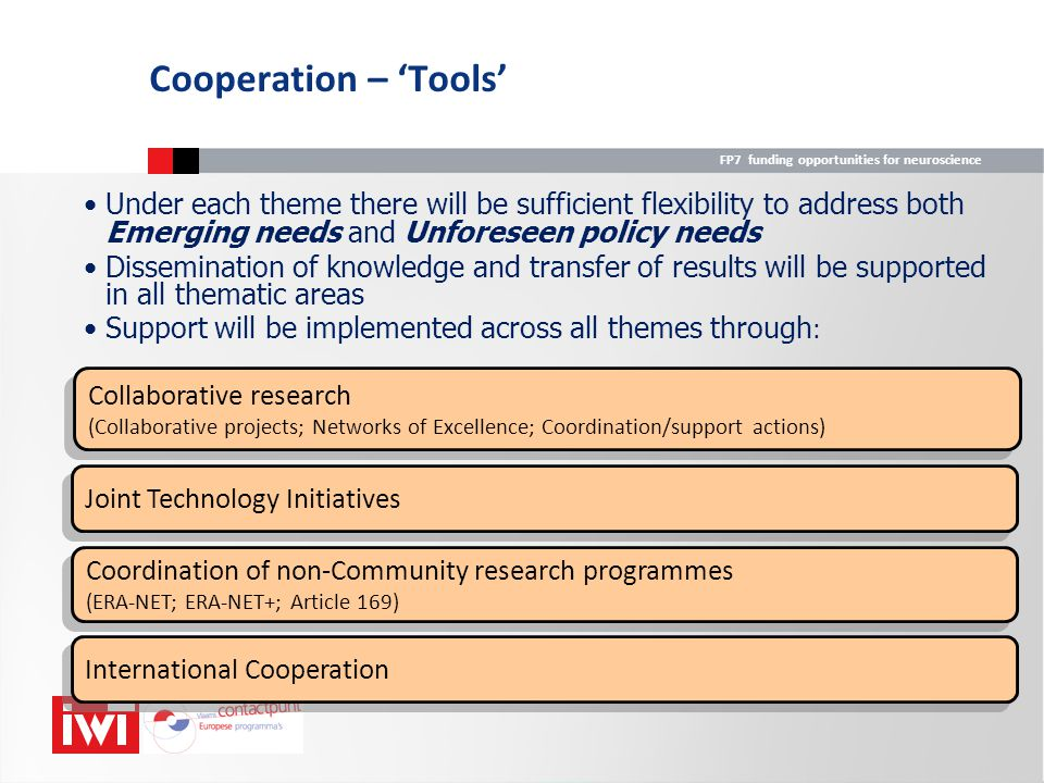 Cooperation – 'Tools' Under each theme there will be sufficient flexibility to address both Emerging needs and Unforeseen policy needs.