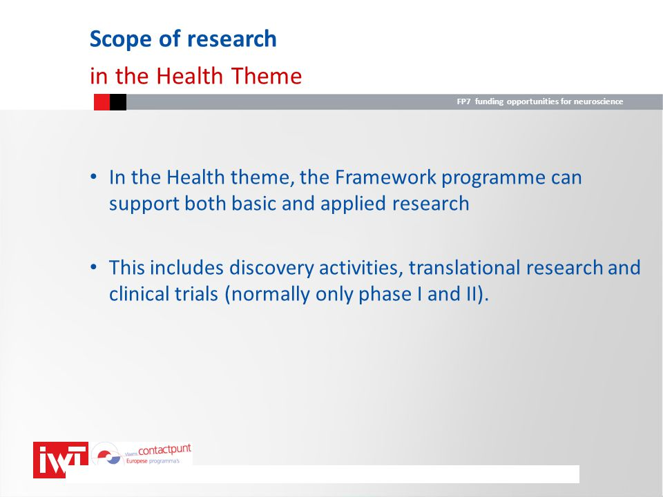 Scope of research in the Health Theme
