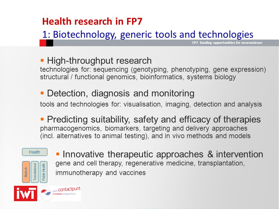 1: Biotechnology, generic tools and technologies