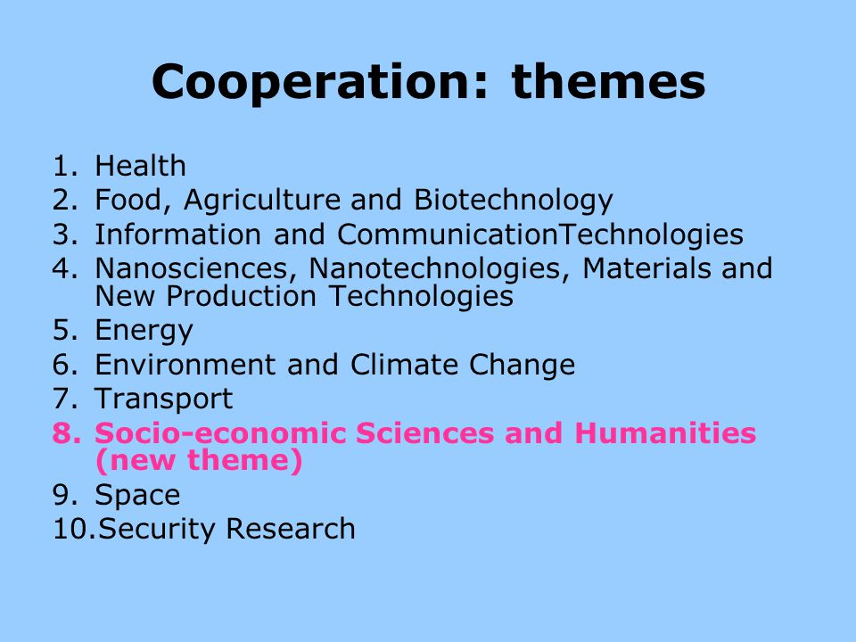 Cooperation: themes Health Food, Agriculture and Biotechnology