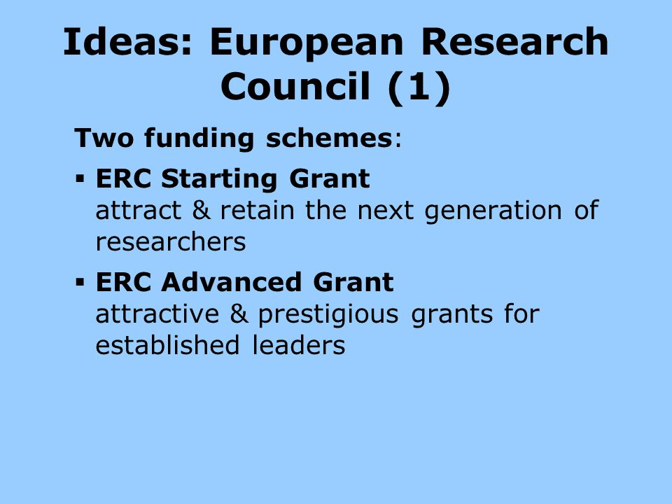 Ideas: European Research Council (1)