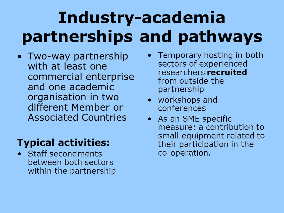 Industry-academia partnerships and pathways