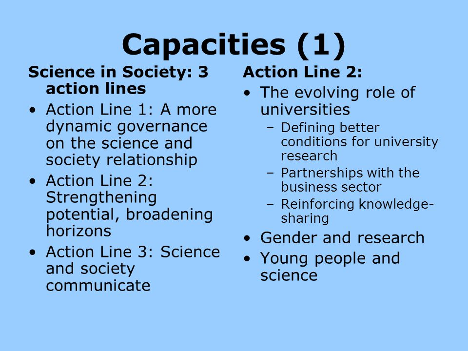 Capacities (1) Science in Society: 3 action lines