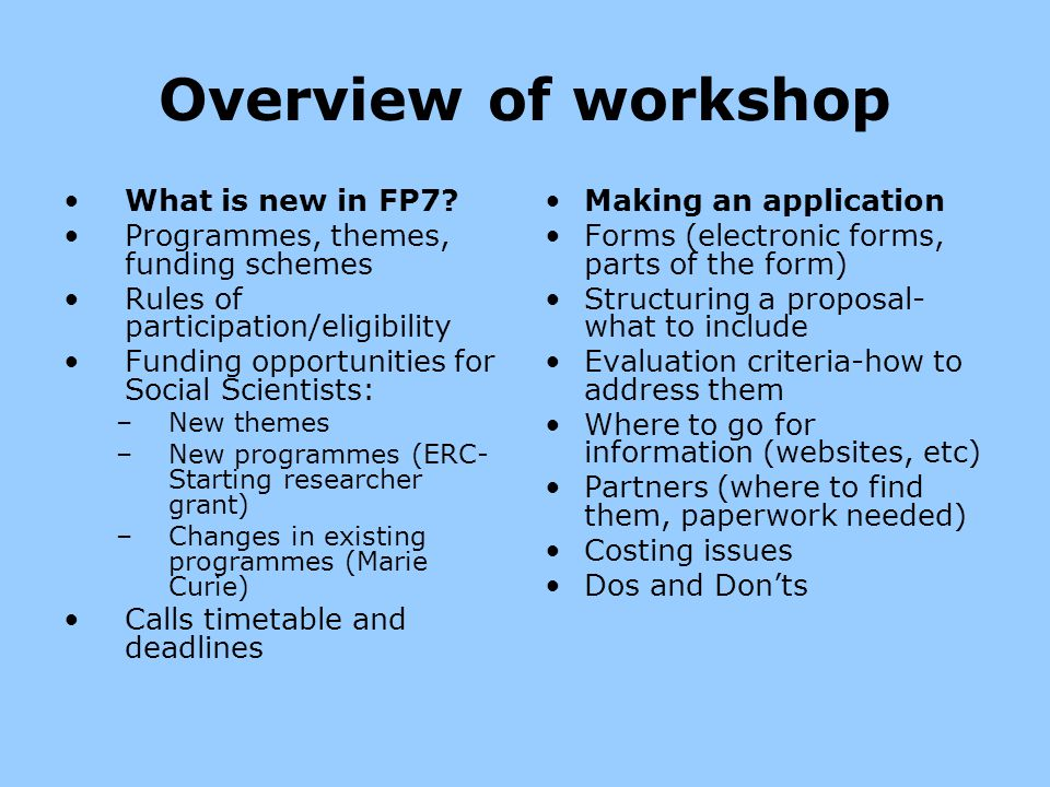 Overview of workshop What is new in FP7