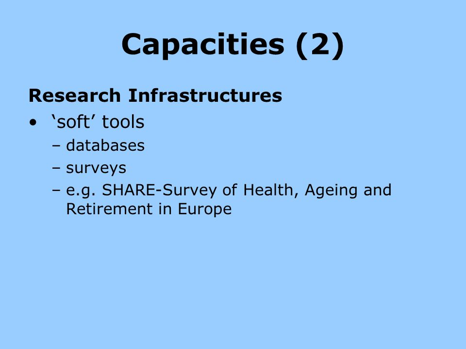 Capacities (2) Research Infrastructures 'soft' tools databases surveys