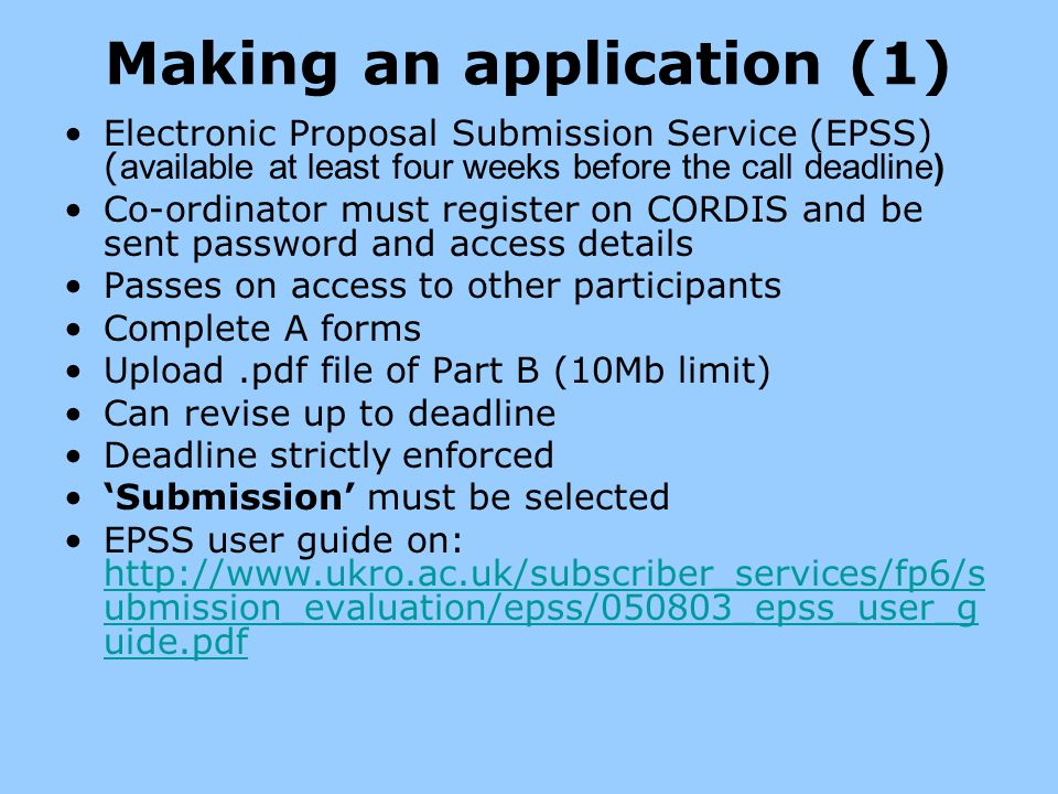Making an application (1)