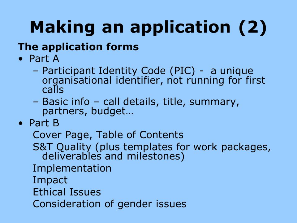 Making an application (2)