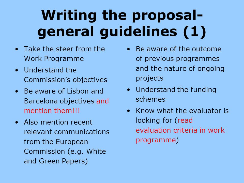 Writing the proposal-general guidelines (1)
