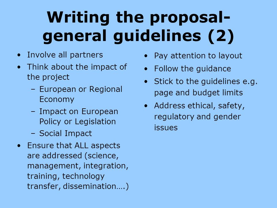 Writing the proposal-general guidelines (2)