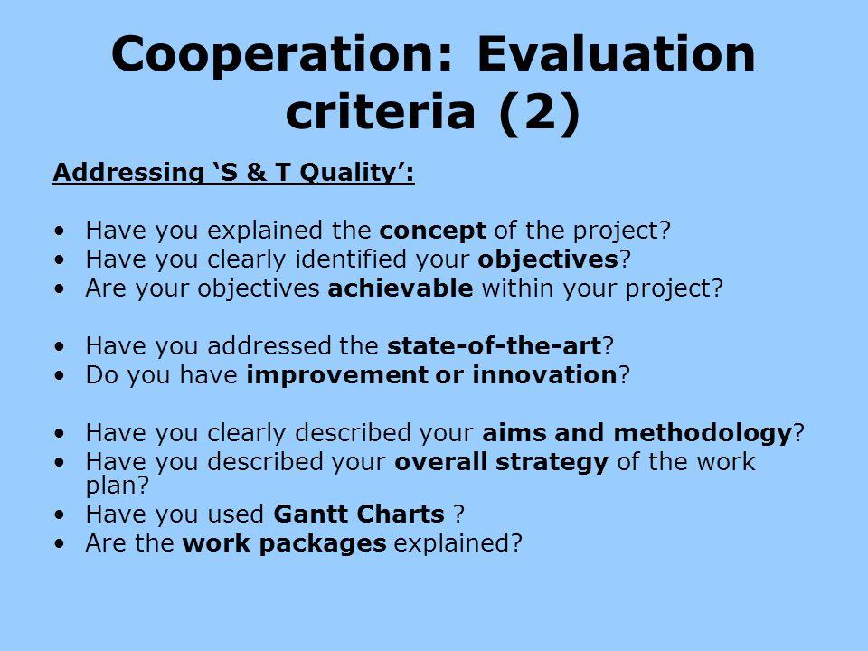 Cooperation: Evaluation criteria (2)