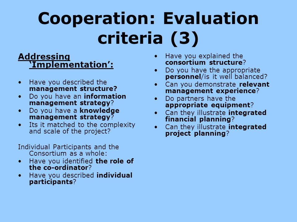 Cooperation: Evaluation criteria (3)