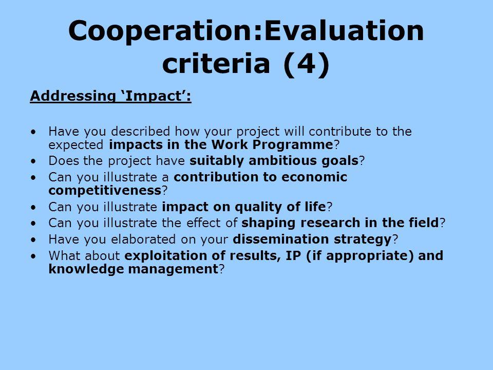 Cooperation:Evaluation criteria (4)
