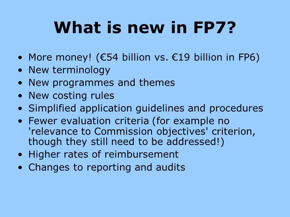 What is new in FP7 More money! (€54 billion vs. €19 billion in FP6)
