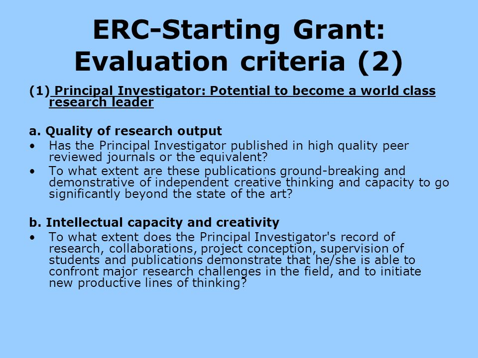 ERC-Starting Grant: Evaluation criteria (2)