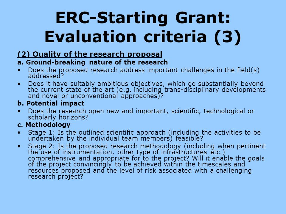 ERC-Starting Grant: Evaluation criteria (3)