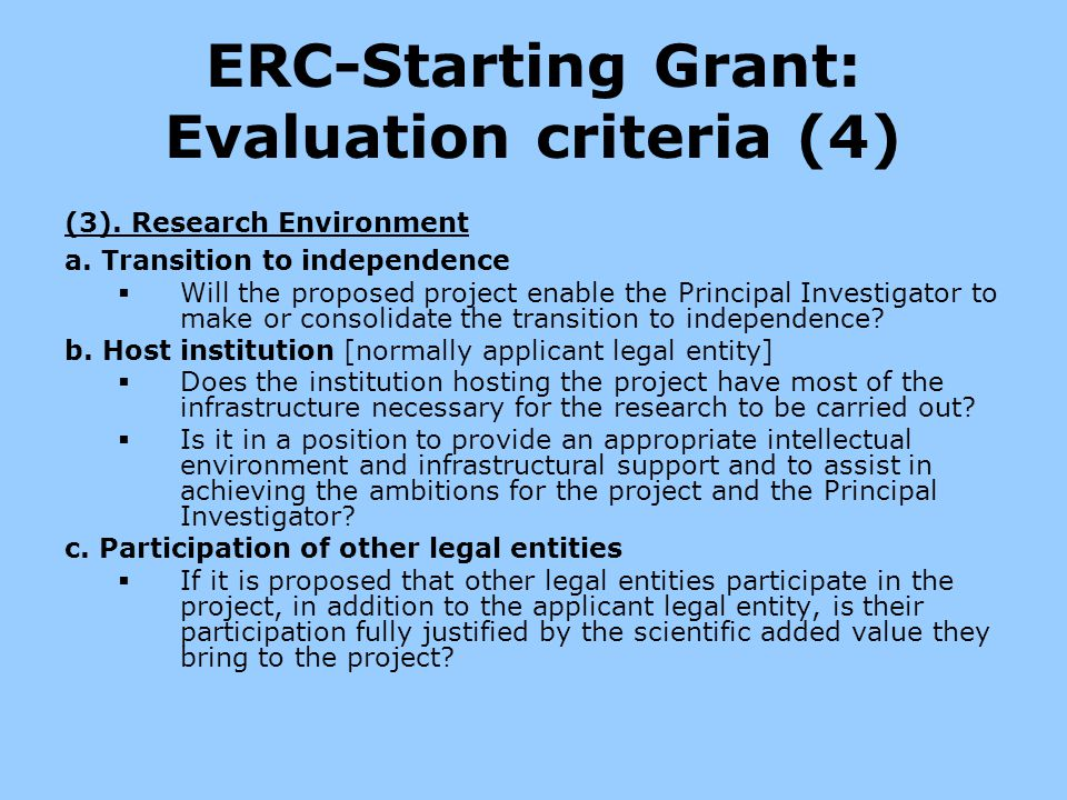 ERC-Starting Grant: Evaluation criteria (4)