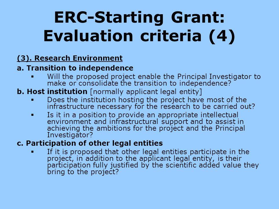 ERC-Starting Grant: Evaluation criteria (4)
