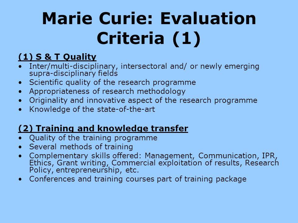 Marie Curie: Evaluation Criteria (1)