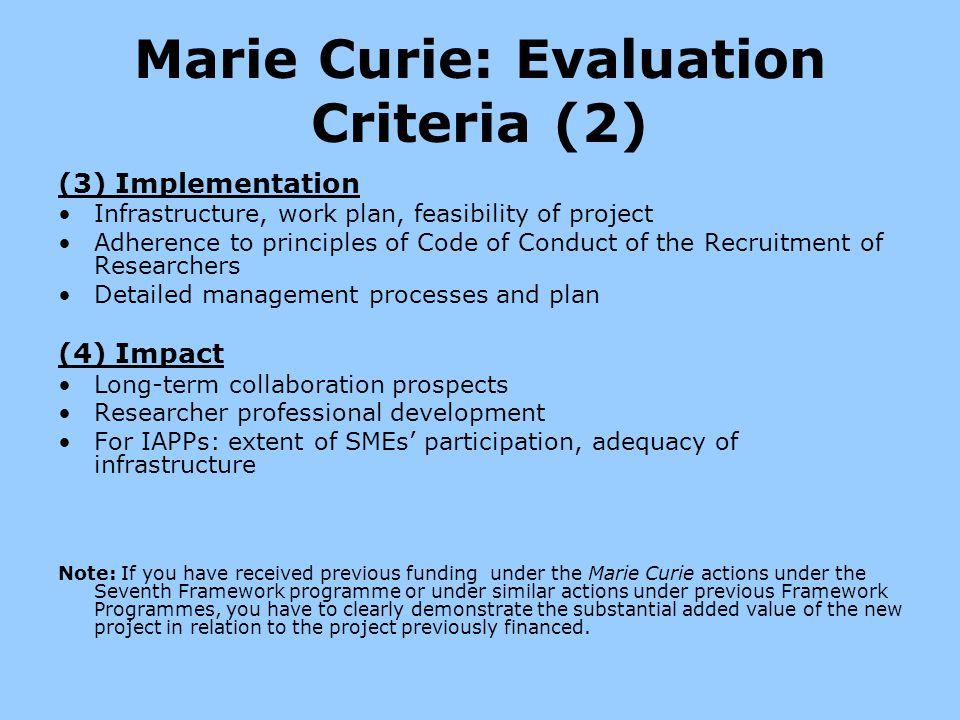 Marie Curie: Evaluation Criteria (2)