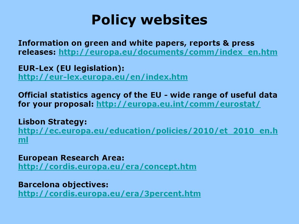 Policy websites Information on green and white papers, reports & press