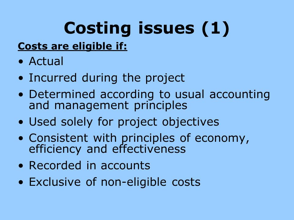 Costing issues (1) Actual Incurred during the project