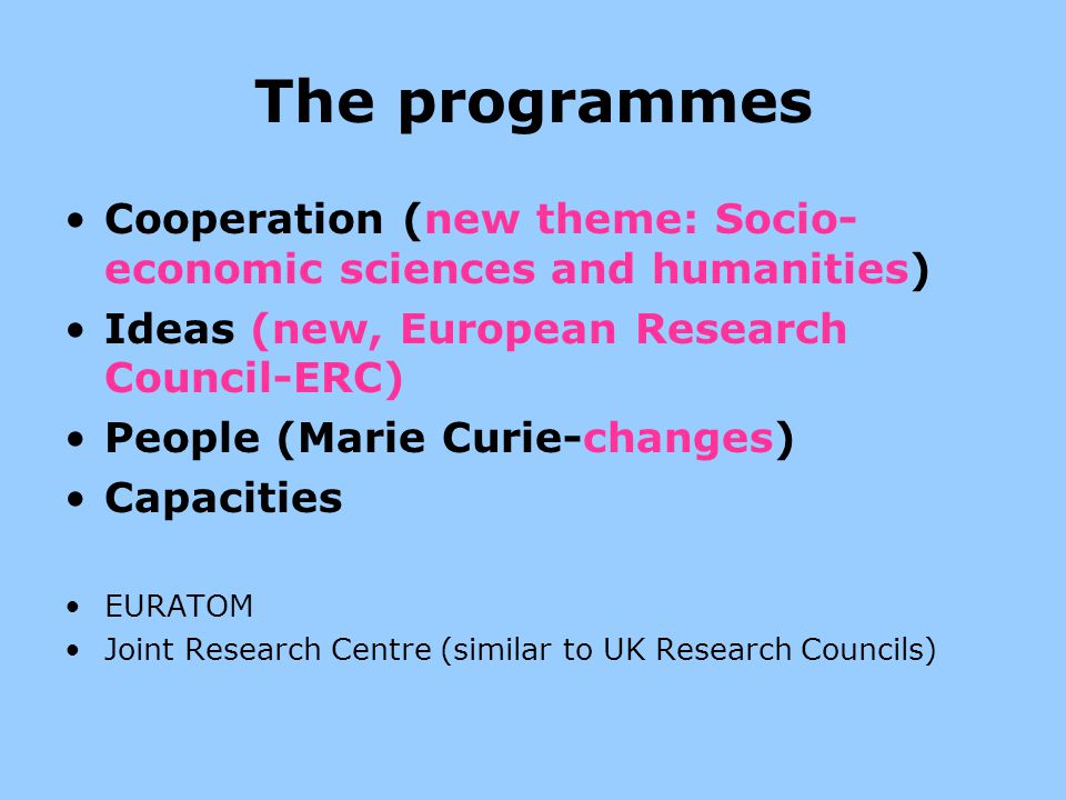 The programmes Cooperation (new theme: Socio-economic sciences and humanities) Ideas (new, European Research Council-ERC)