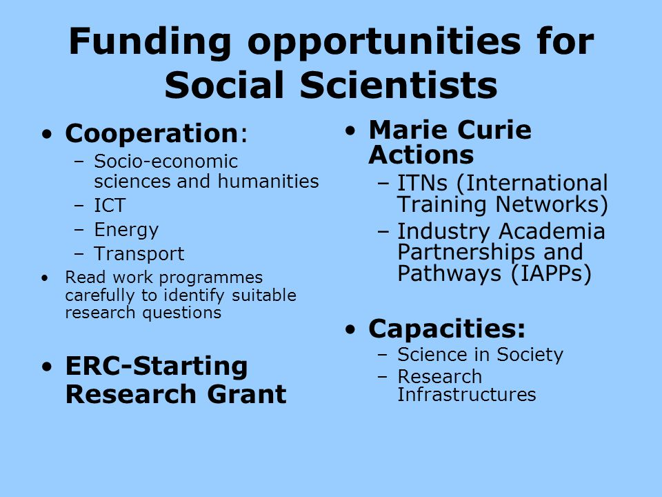 Funding opportunities for Social Scientists