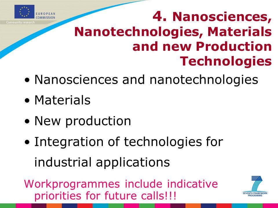 4. Nanosciences, Nanotechnologies, Materials and new Production Technologies