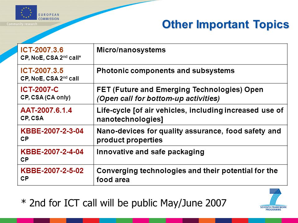 * 2nd for ICT call will be public May/June 2007