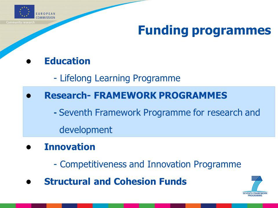 Funding programmes Education - Lifelong Learning Programme