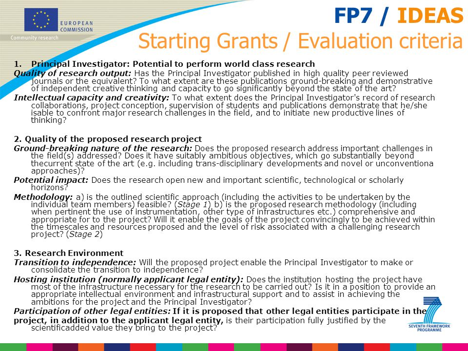 FP7 / IDEAS Starting Grants / Evaluation criteria
