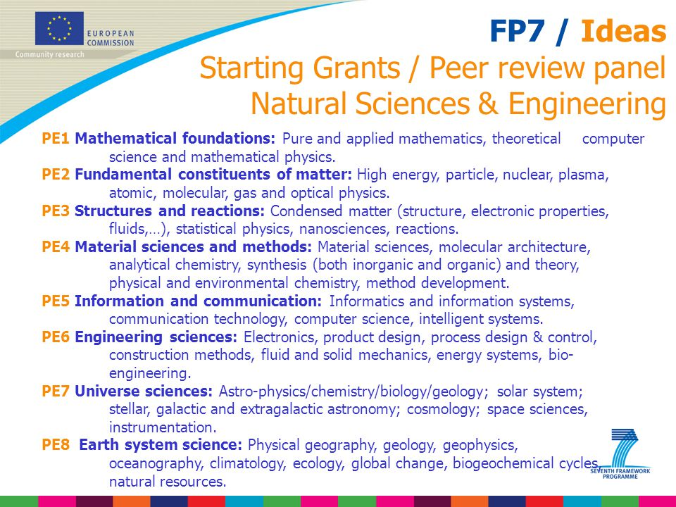 FP7 / Ideas Starting Grants / Peer review panel Natural Sciences & Engineering