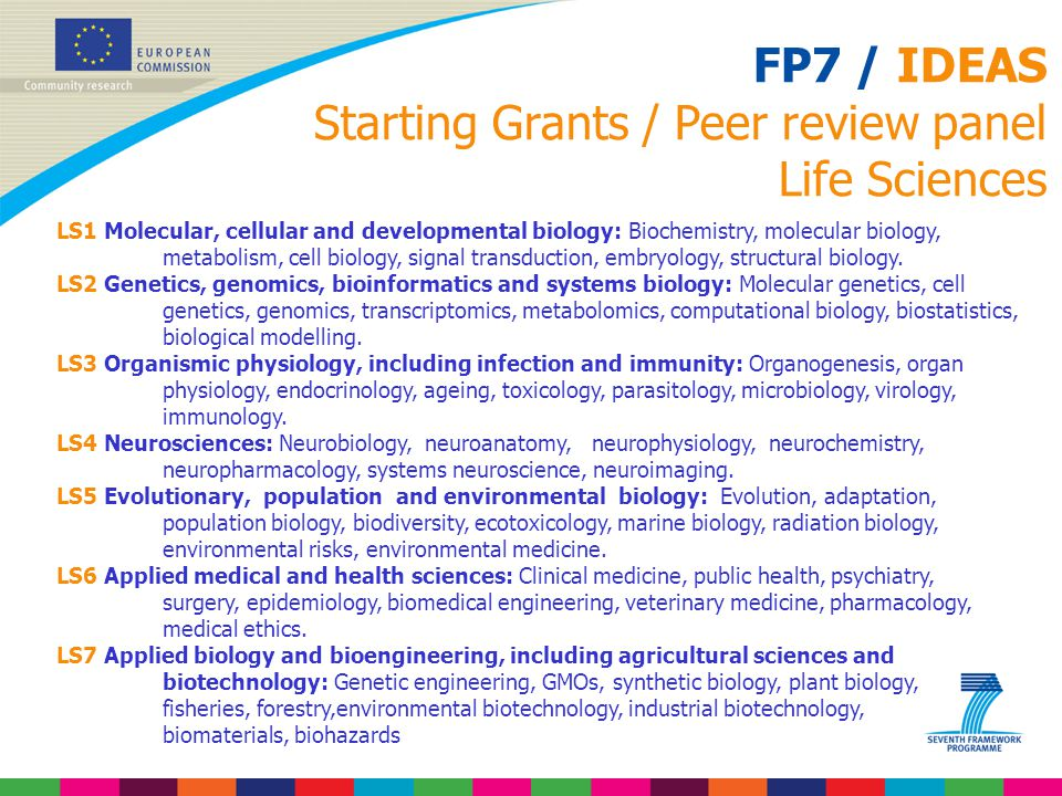 FP7 / IDEAS Starting Grants / Peer review panel Life Sciences