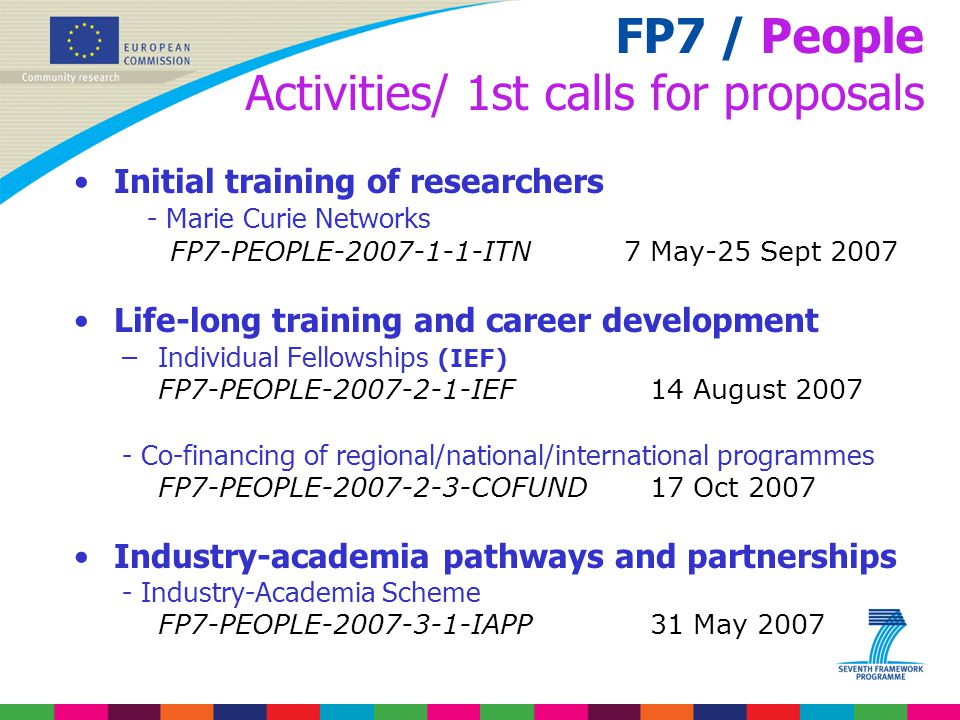 FP7 / People Activities/ 1st calls for proposals